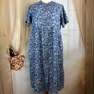Mainstreet Blues Dresses - Mainstreet Blues Blue Floral Short Sleeved Dress
